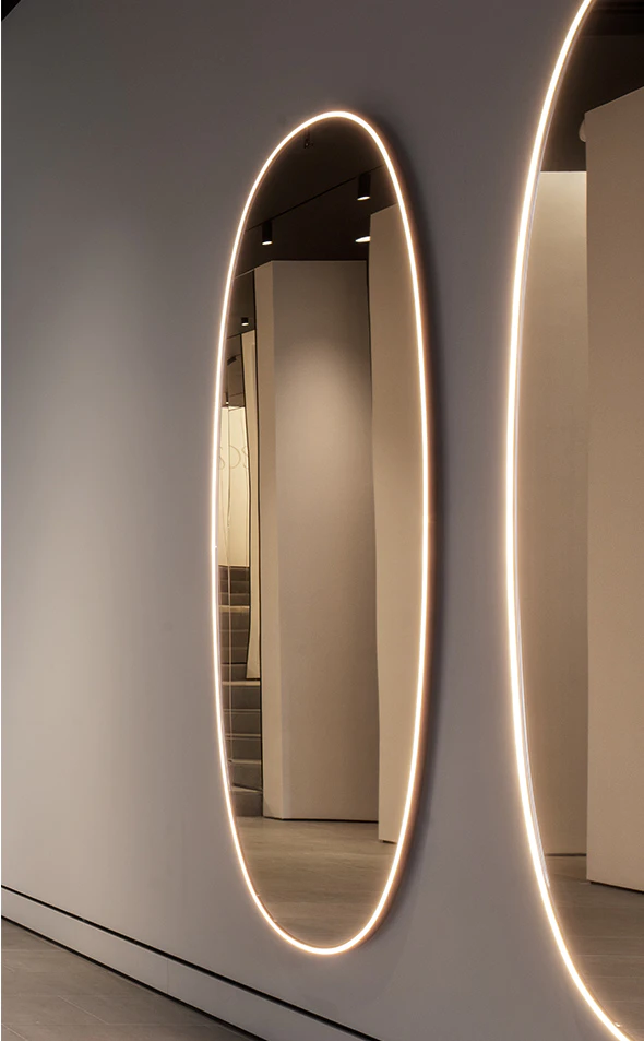 Home Collection Wall And Ceiling Lights Flos Long Mirror With Lights Mirror Illuminated Mirrors