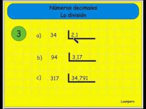 14. Tutorial que explica la forma de dividir números decimales. En ...