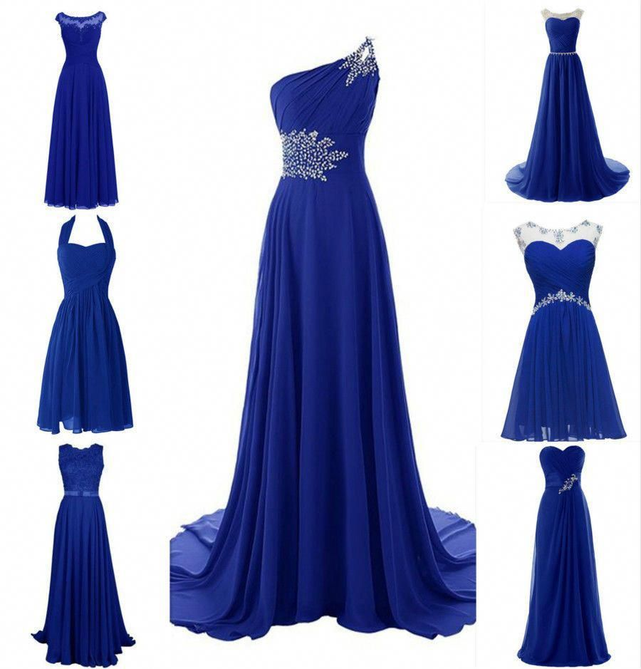 Royal Blue Lace Chiffon Bridesmaid Wedding Evening Plus Size Long