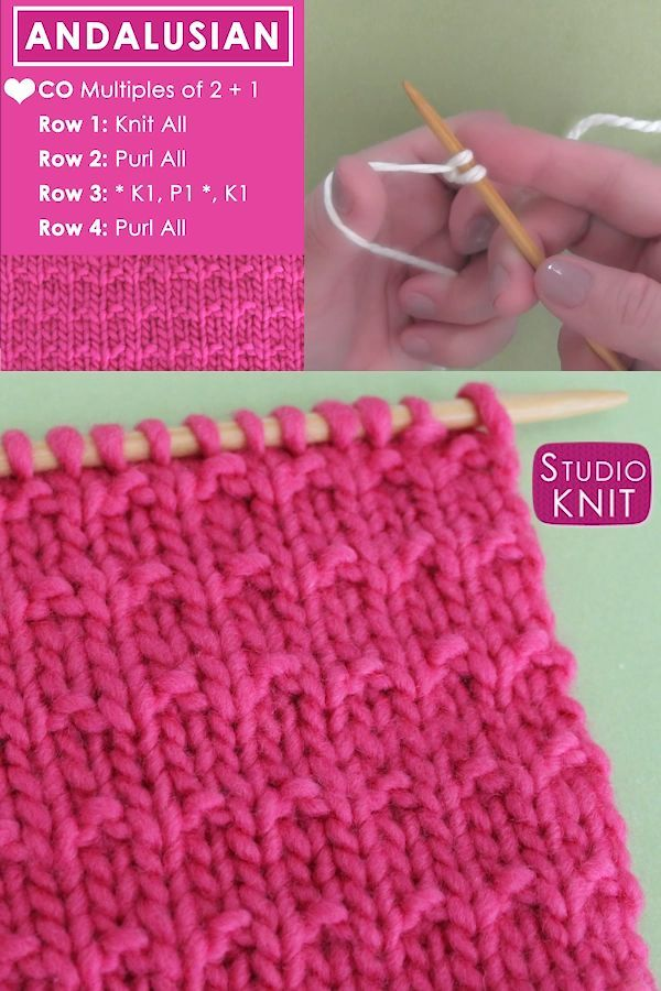 Easy Andalusian Knit Stitch Pattern - Crochet and Knitting Patterns -   19 knitting and crochet Learning patterns ideas