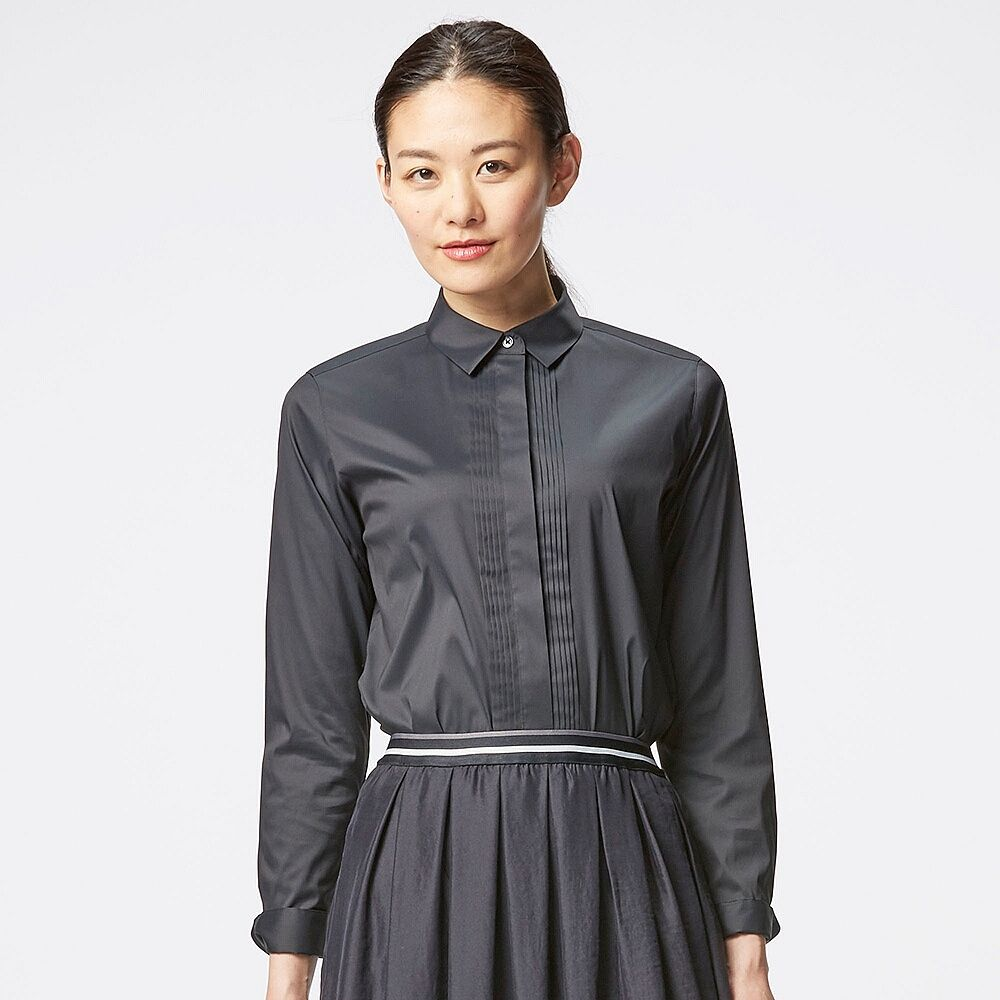 WOMEN Supima Cotton Stretch Pintuck Long Sleeve Shirt