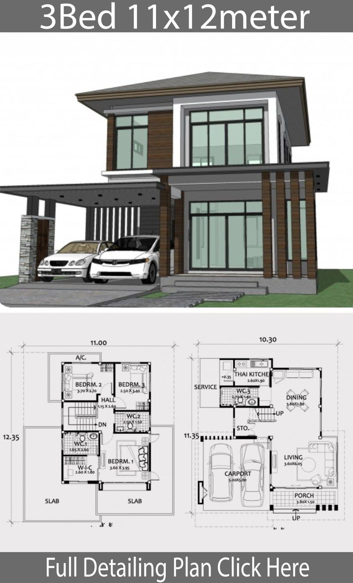 Home Design Plan 11x12m With 3 Bedrooms Home Design With Plansearch House Blueprints Home Design Plan Modern House Design