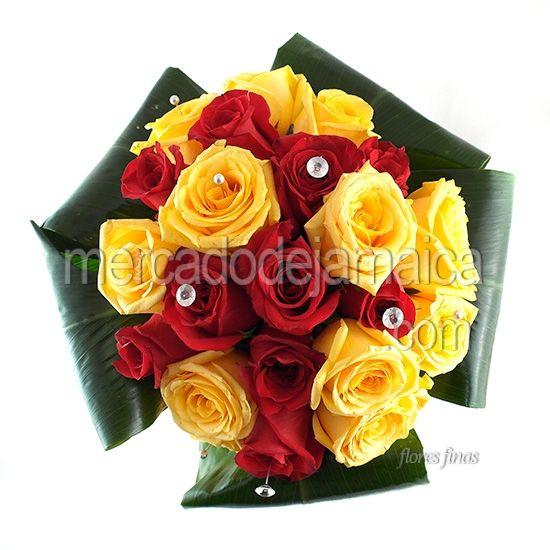 Ramos De Novia Rojo Con Amarillo Rose Flowers Plants