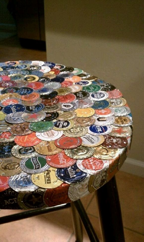 Bottle Caps Recycled Table Top Jpg 580 215 969 Man Cave