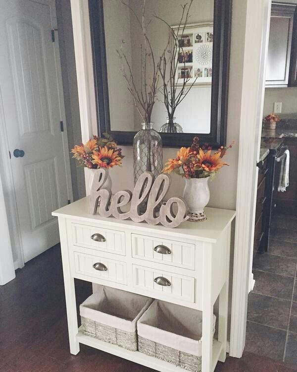 cute fall decor for an entry way table or mantel inspiration white beadboard console table in kitchen