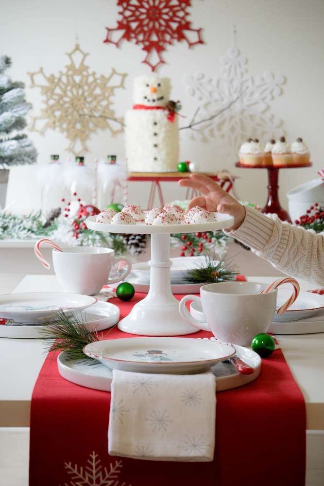 White Christmas Theme Party Ideas Part - 34: Loving The Table Settings At This Christmas Party! See More Party Ideas And  Share Yours