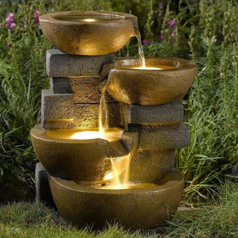 Jeco Pots Water Fountain With Led Light Water Fountains Outdoor Garden Water Fountains Fountains Outdoor Outdoor water fountains with led lights