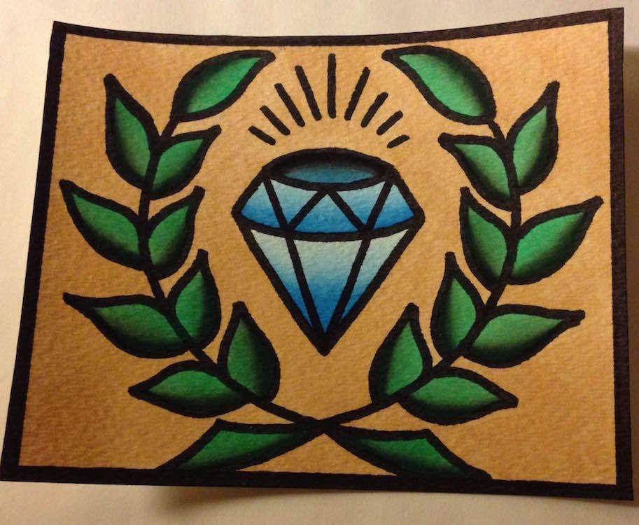 4x5in. blue diamond old school style tattoo flash watercolor