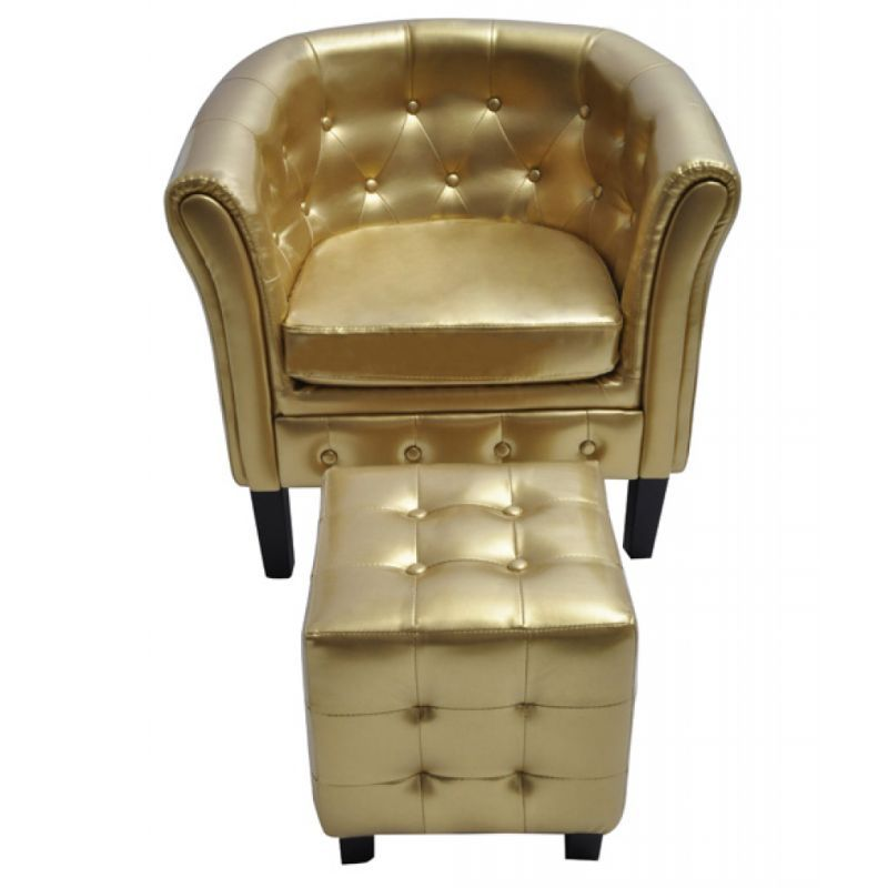 Faux Leather Chesterfield Armchair w/ Stool in Gold | Buy Living ...