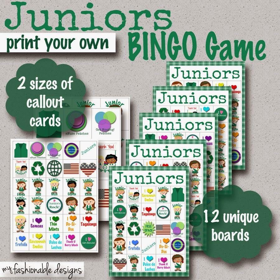 Fashionable Moms Girl Scouts Juniors Bingo Game Girl