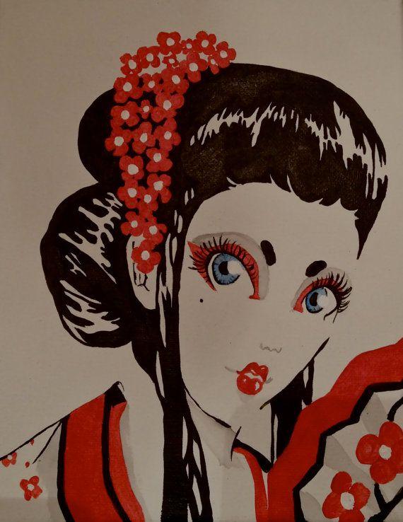 Original Painting  Geisha 8 x 10 Canvas by Porcupineprincess, $20.00