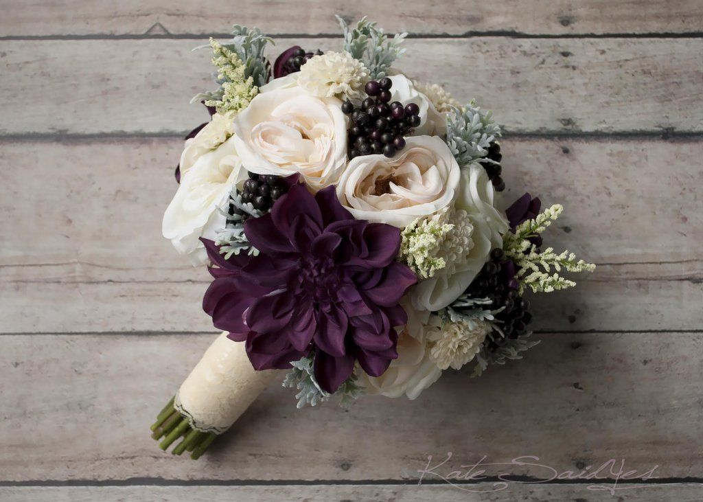 Rustic Bouquet - Blush Ivory and Plum Garden Rose and Dahlia Wedding ...