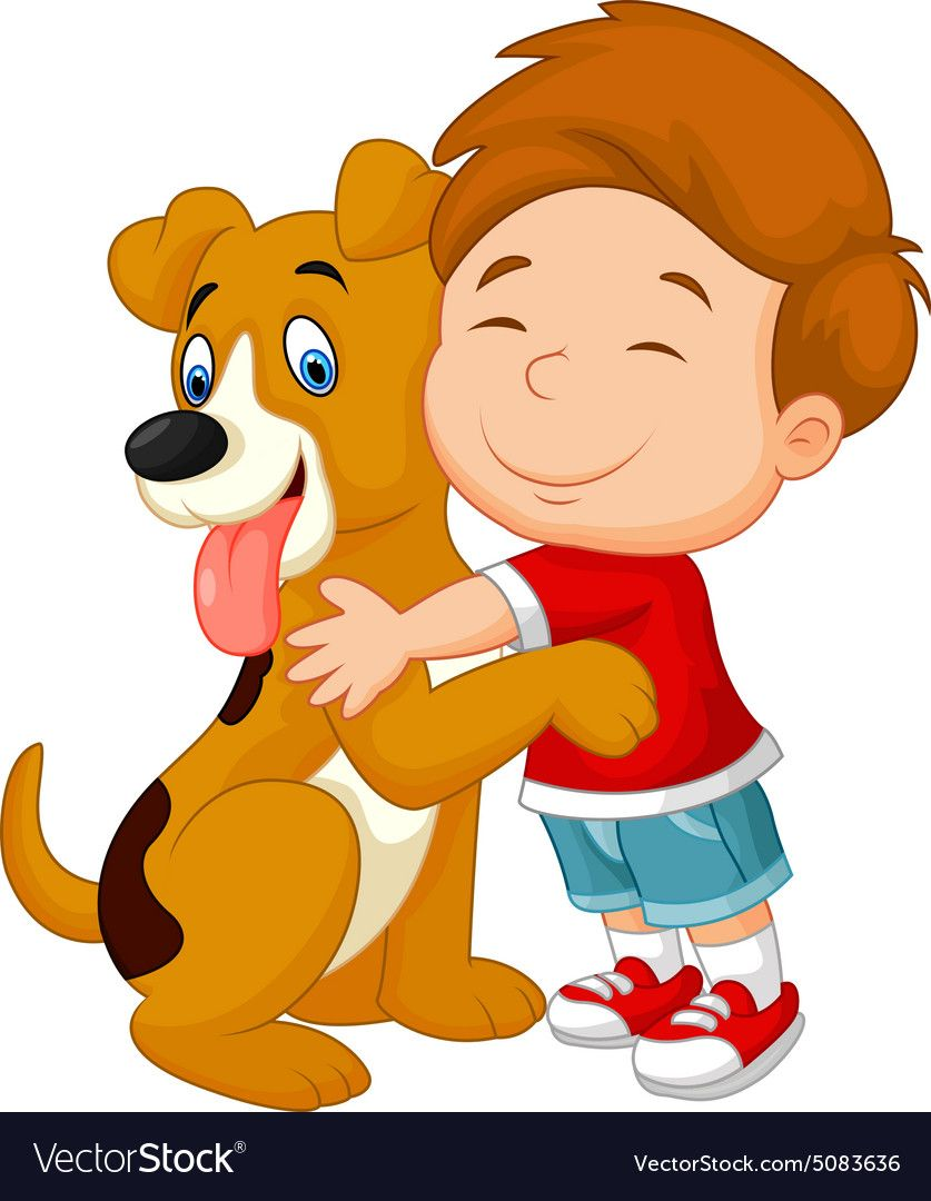 Happy Young Boy Lovingly Hugging His Pet Dog Vector Image On