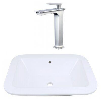 American Imaginations Ceramic Rectangular Dual Mount Bathroom Sink