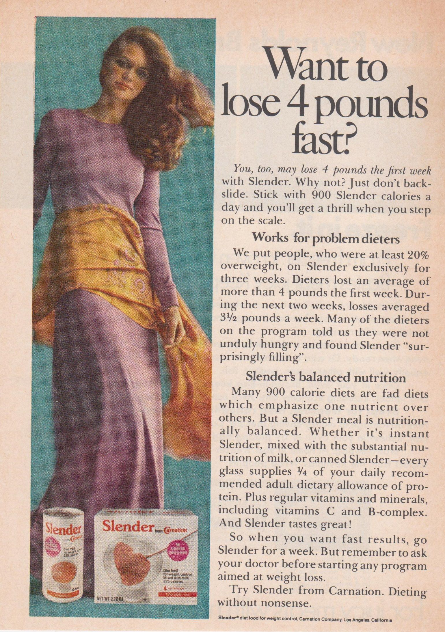 Slender Meal Replacement Ad By Carnation In Instant Or Canned 1972 Lose Pounds Vintage Ads Fad Diets
