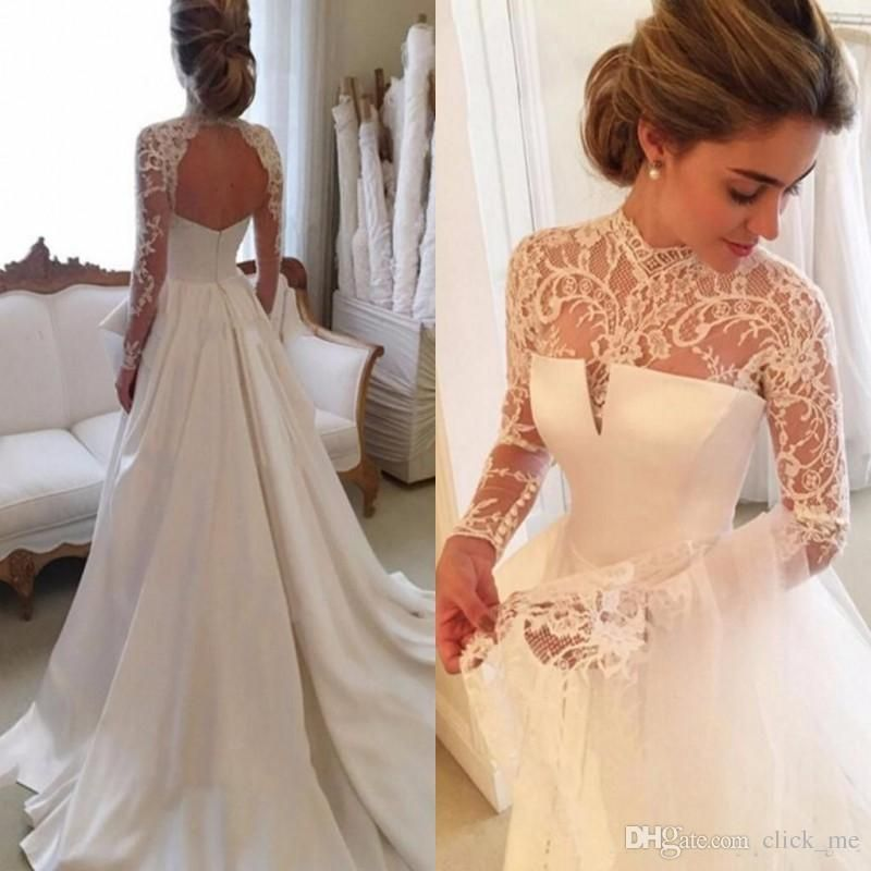 2017 Gorgeous Long Sleeve Wedding Dresses With Sheer Neck