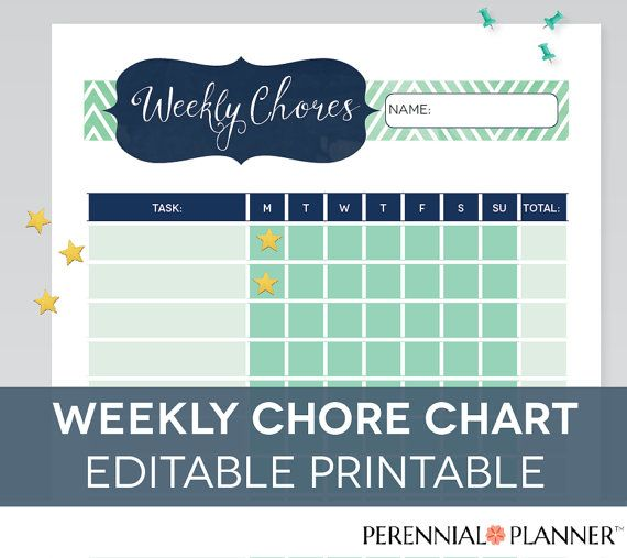chore chart printable editable pdf kids by