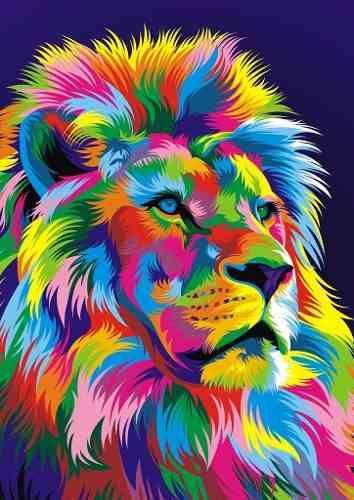 Resultado De Imagen Para Cuadro De Animales Coloridos Leon Colores Pintura De Leon Animales Vectoriales