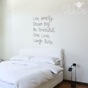 Vinilo dormitorio 19 vinilos pinterest cuarto de for Vinilos decorativos dormitorios juveniles