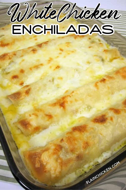 White Chicken Enchiladas Our Favorite Chicken Enchilada Recipe So Creamy And In 2020 Enchilada Recipes Sour Cream Chicken Enchilada Recipe White Chicken Enchiladas