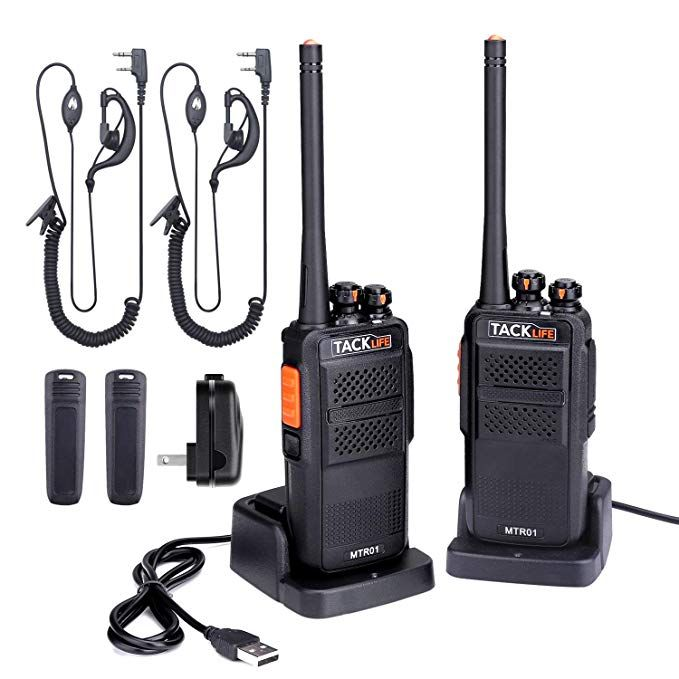 5d46e68213a Rechargeable Walkie Talkies Long Range Two-Way Radios 2-Pack with Earpiece