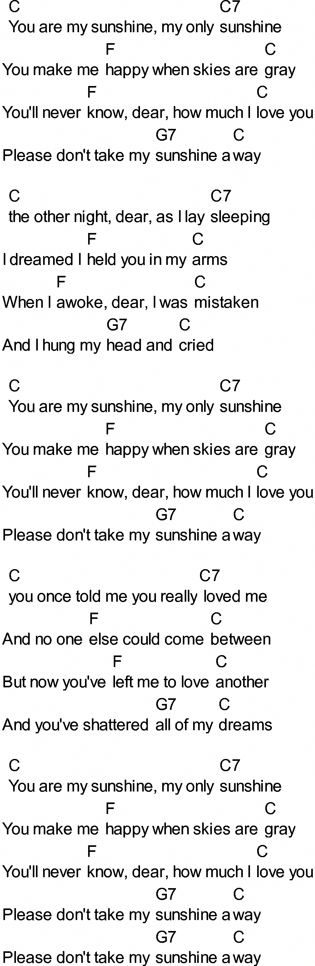 Bluegrass songs with chords   You Are My Sunshine Guitar ...
