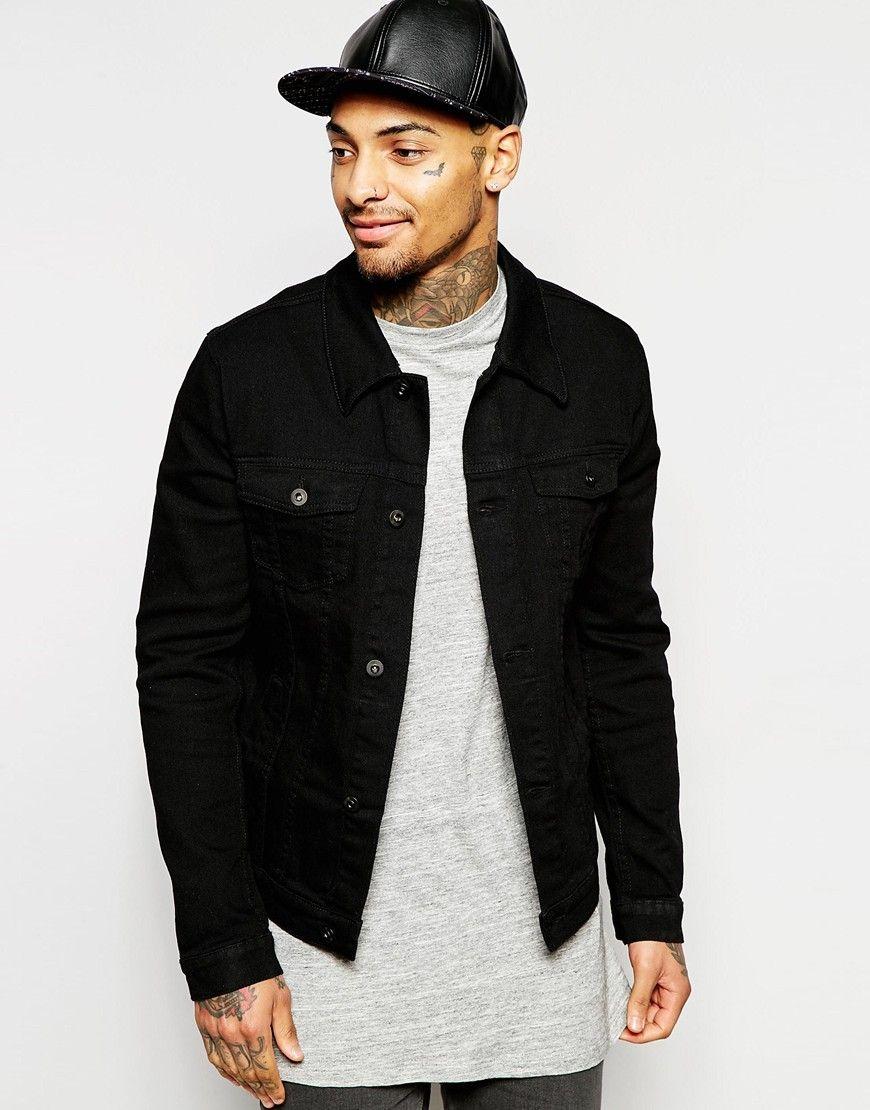 39c21cb1d43 ASOS Denim Jacket in Skinny Fit in Black
