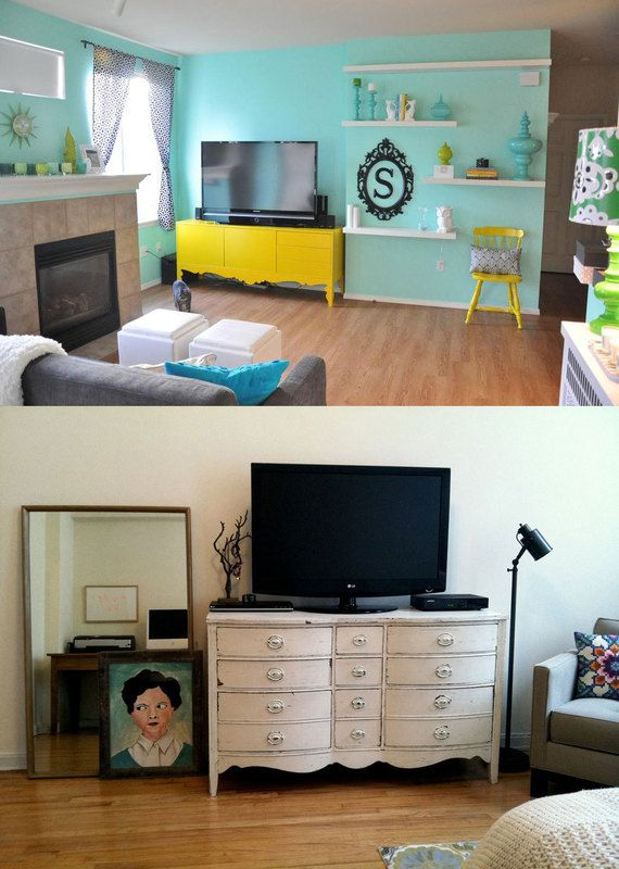 yellow and aqua-- Our living room walls are pretty much this exact shade! We are accenting with yellows, grays and black! Love it! Alyssa is helping us with our interior design!