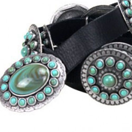 black genuine leather belt turquoise stones montana west patricia wolf design #MontanaWest #Western
