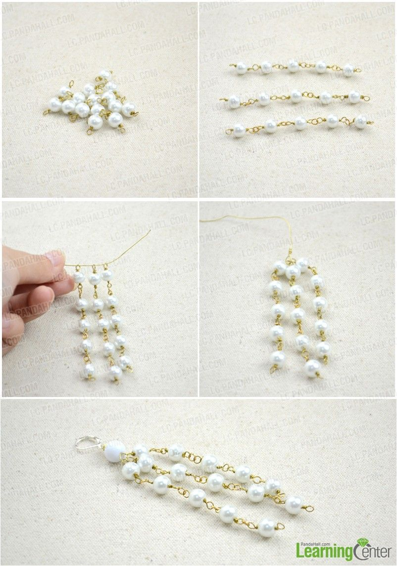 Wire Jewelry Making Design-Long Pearl Necklace and Earrings ...