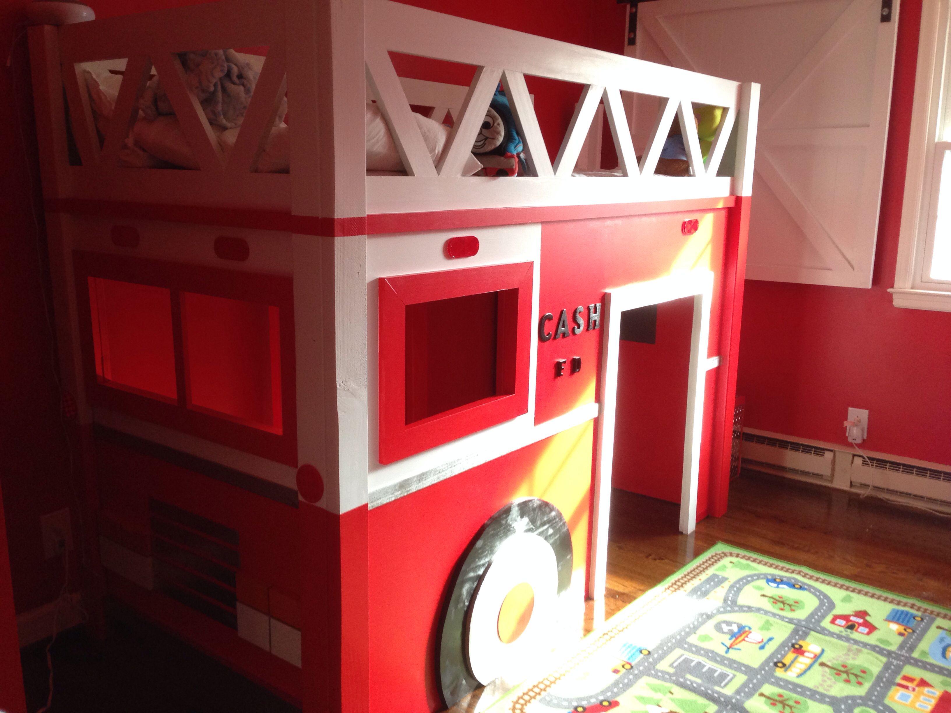 Kids FireTruck Loft Bed... Bed, Truck bed, Fire trucks