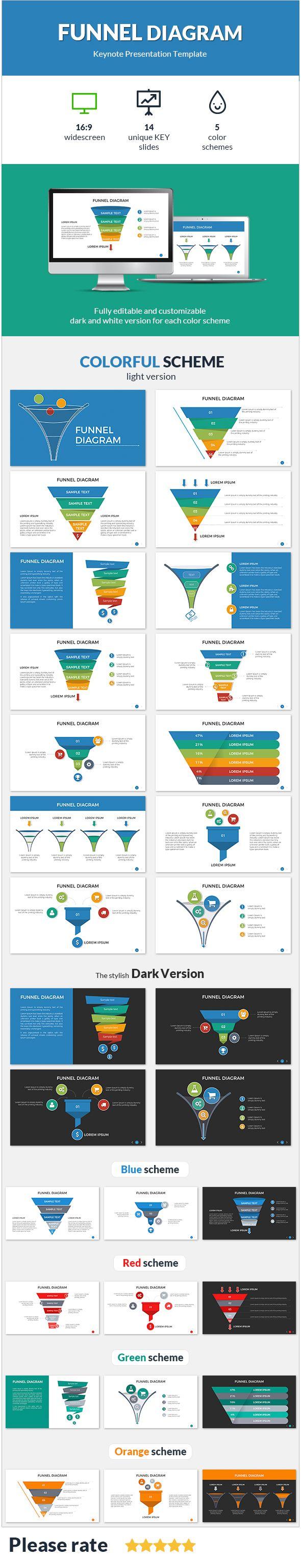 Funnel Diagram Keynote Presentation Template  Presentation