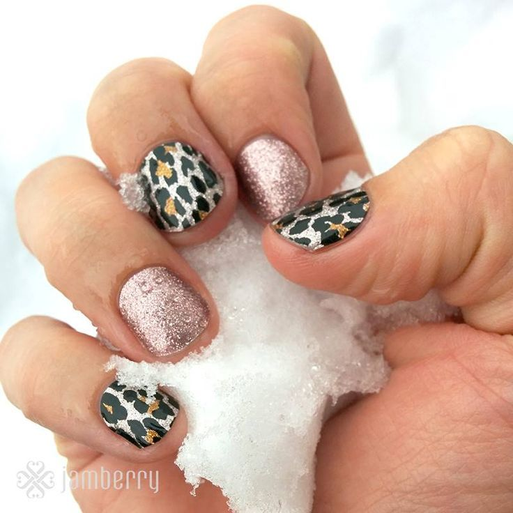 Jamberry Nails in Gilded Leopard & Rose Gold Sparkle | Buy 3, Get 1 ...