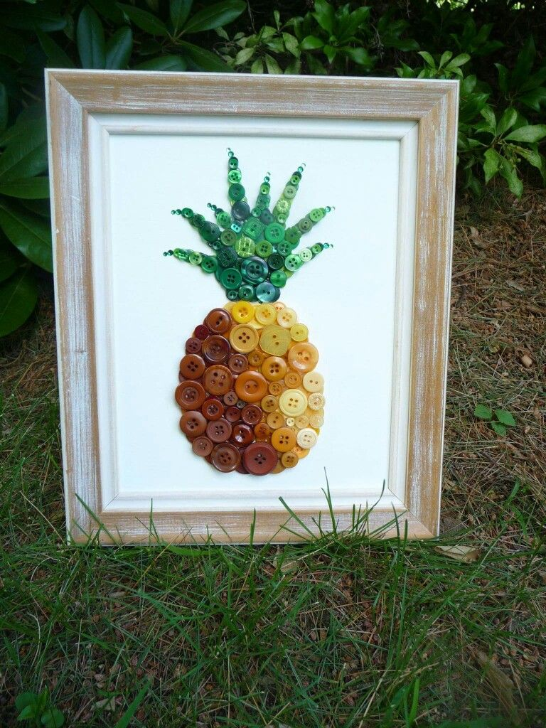 Button Pineapple Pineapple Crafts Pineapple Art Button Crafts