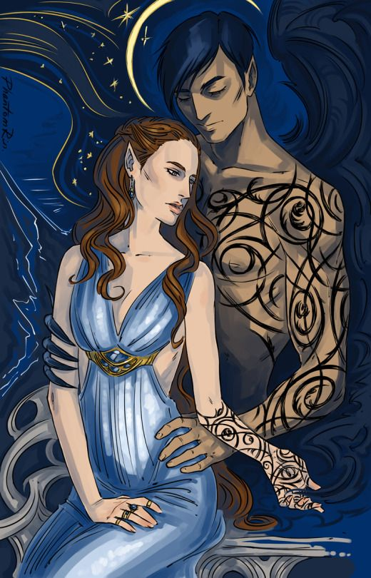Feyre And Rhys By Phantomrin Art Illustration A Court Of