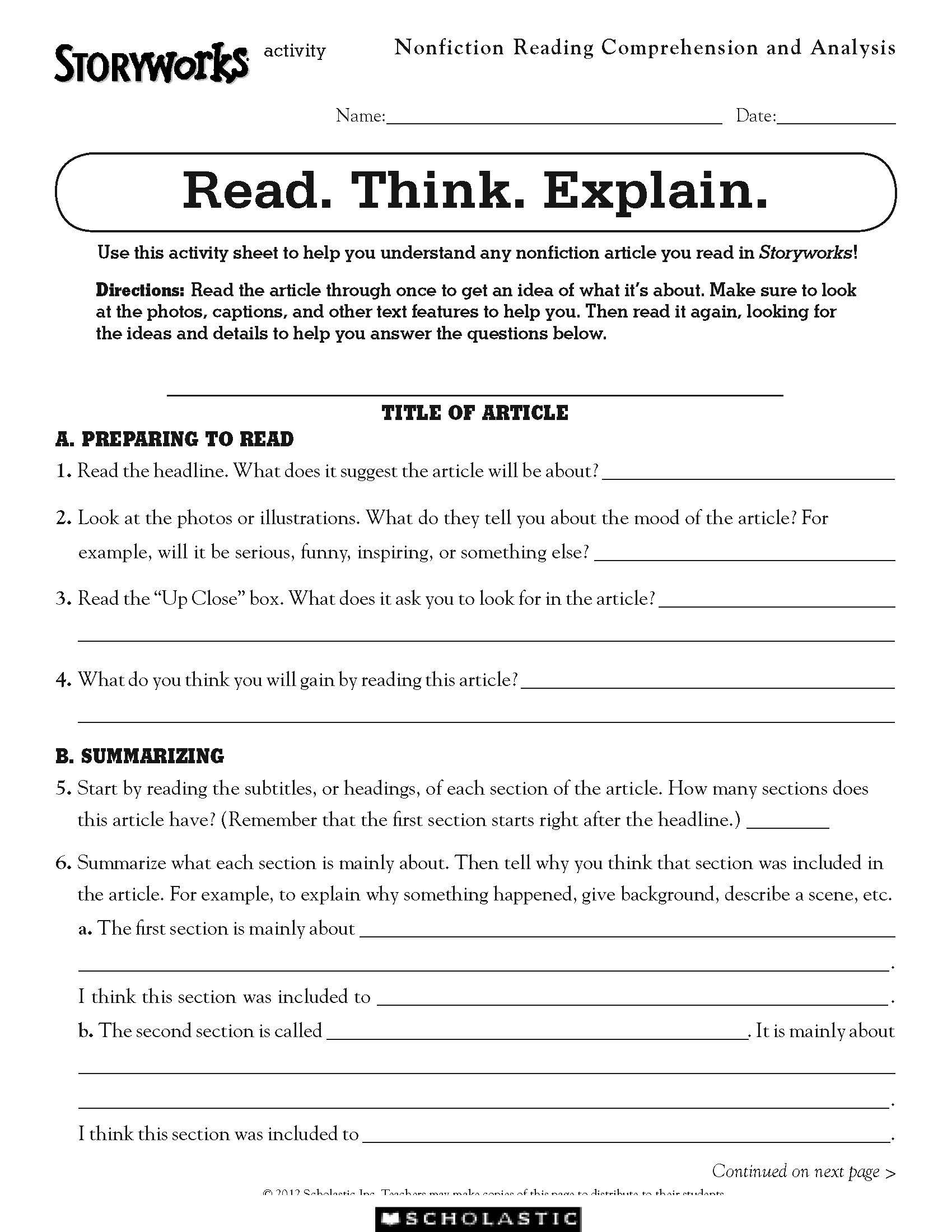 Free Activity For Nonfiction Reading Comprehension
