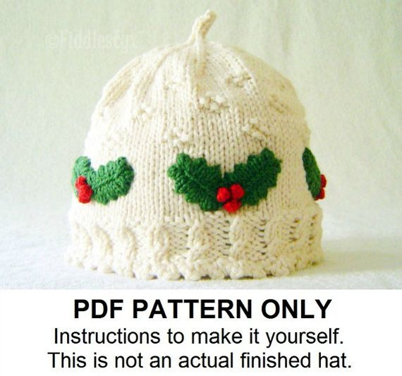 Knit Hat Knitting Pattern Girls Christmas Hat Pattern - the HOLLY Hat  (Newborn Baby Toddler Child   Adult sizes incl d) f8db6164972