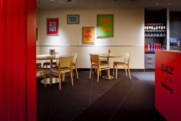 """Pizza Hut restaurant for the UK, love the poster """"You had me at hut"""""""