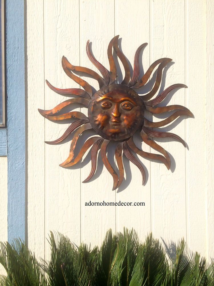 Large Metal Sun Wall Decor Rustic Garden Art Indoor Outdoor Patio ...