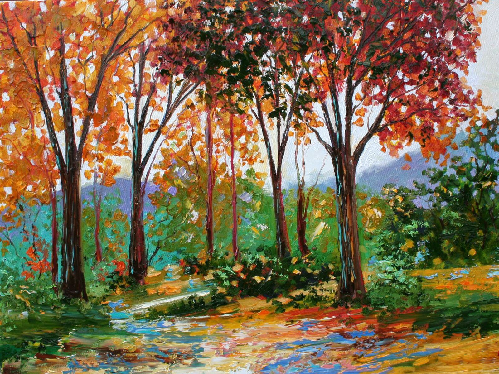 Xs Wallpapers Hd Autumn Oil Paintings Painting Oil Painting Autumn Painting