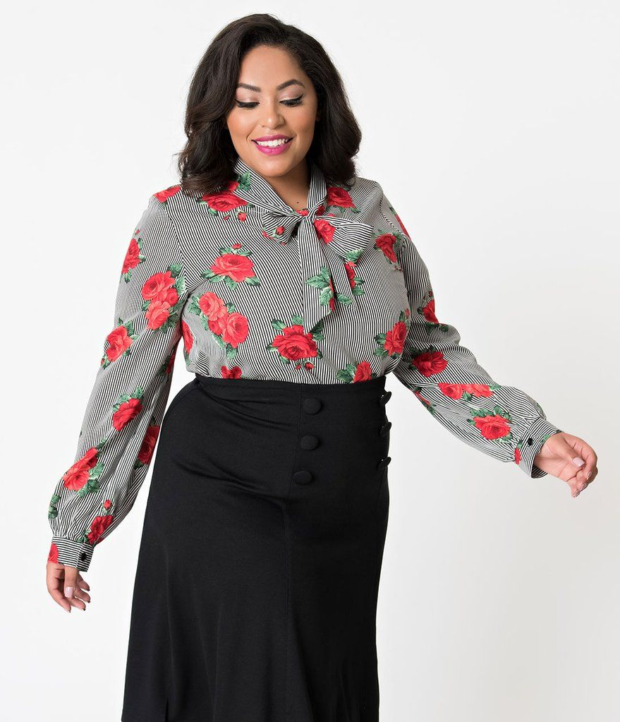 Folter plus size black u white striped red rose long sleeve bow