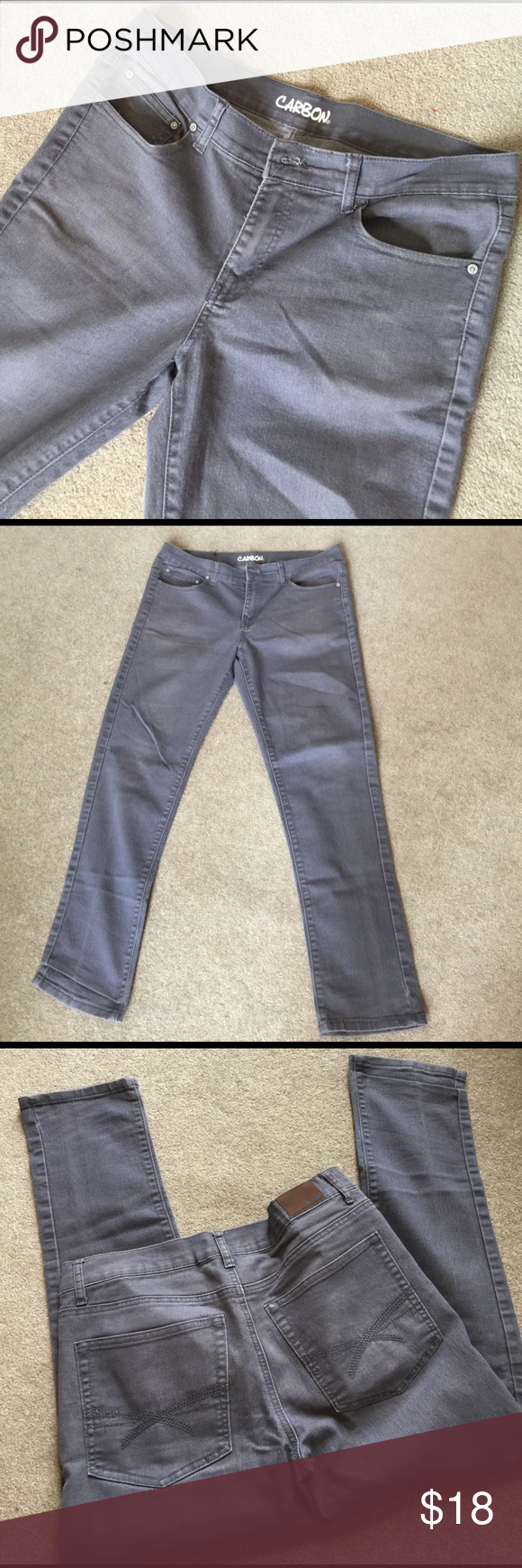 Men's gray carbon jeans 29 inch inseam. 70% cotton 27% polyester 3% spandex. MC Carbon Jeans Straight