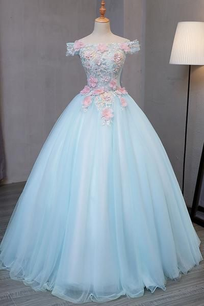 Sky blue tulle princess off shoulder long formal prom dress, long strapless pink flower appliqués evening dress #promdresses