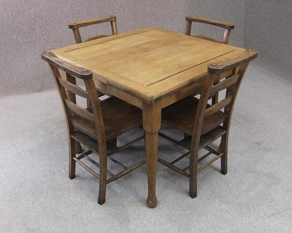1900 Kitchen Late Victorian Extending Pine Table And 4 Chapel Chairs