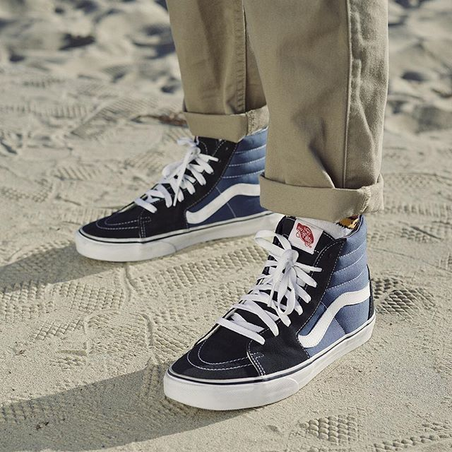 Stand out from the crowd in the Navy/White Vans Sk8-Hi. Shop new colors  now. | Sunny Days | Pinterest | White vans, Vans sk8 and Crowd