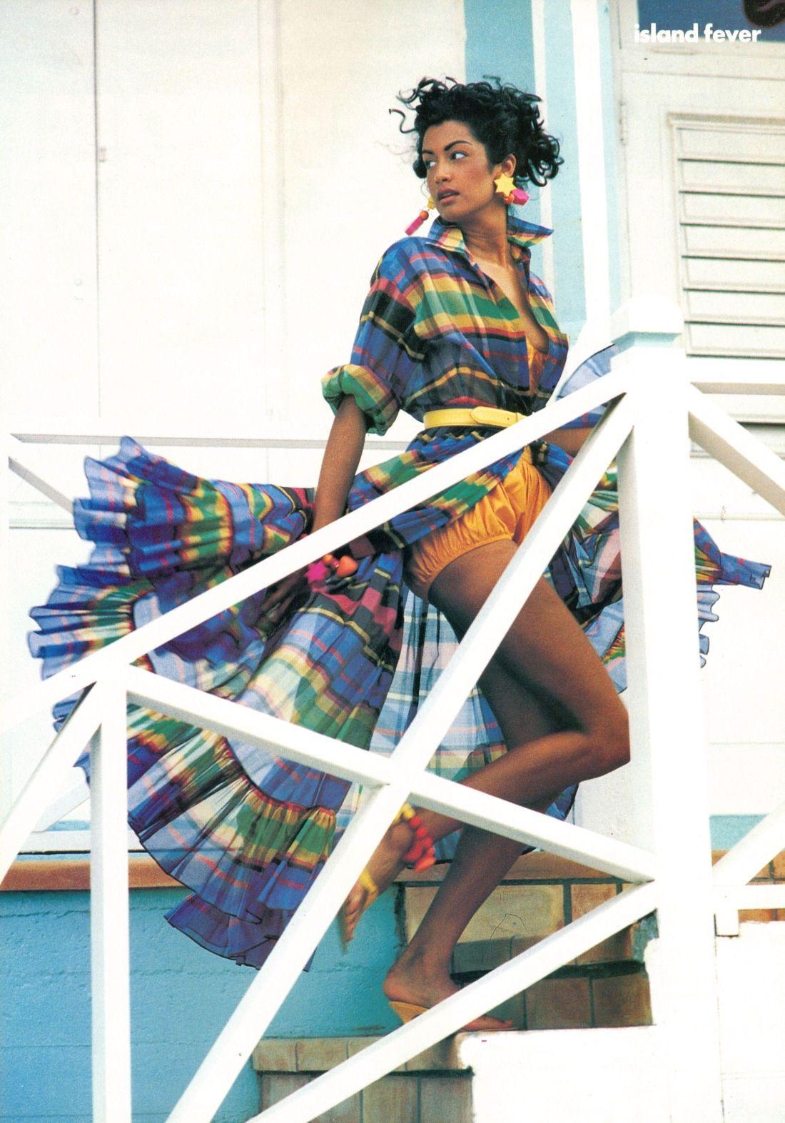 "supermodelobsession:    Vogue US December 1991""Island Fever""Model: Yasmeen GhauriPhotographer: Marc HispardStylist: Carlyne Cerf de Dudzeele"