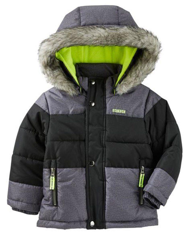 NEW 4T Toddler Boys Gray Bubble Jacket Coat