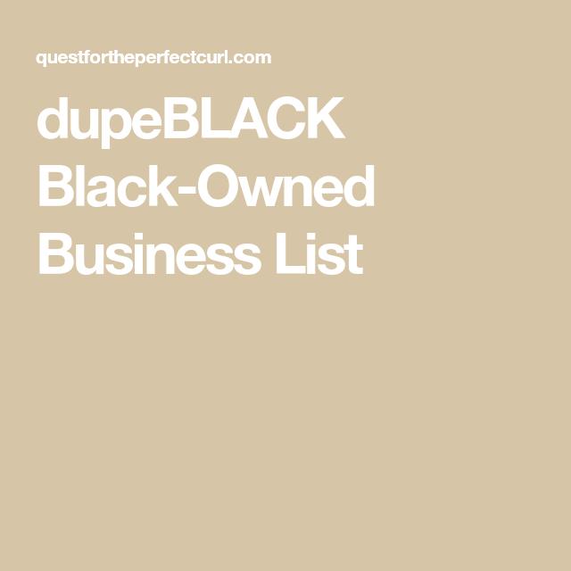 dupeBLACK Black-Owned Business List