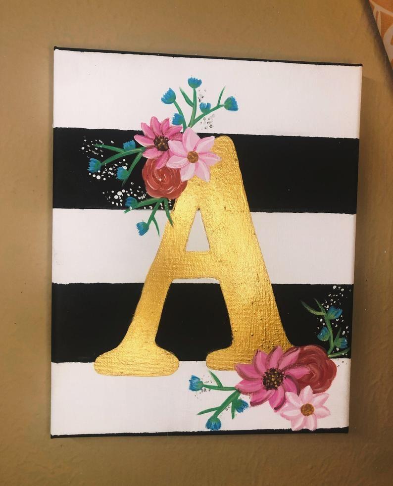 Floral Letter Canvas Etsy Simple Canvas Paintings Small Canvas Paintings Amazing Art Painting