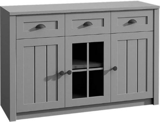 Szara Komoda Z Witryna Salon Prowansalska Konsimo Furniture Decor Home Decor